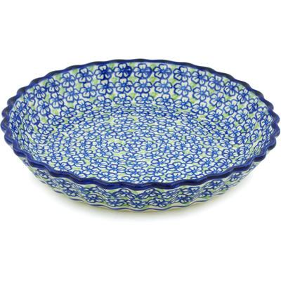 Polish Pottery 10-inch Fluted Pie Dish | Boleslawiec Stoneware | Polmedia H3264H