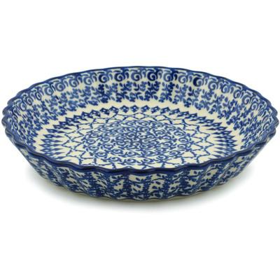 Polish Pottery 10-inch Fluted Pie Dish | Boleslawiec Stoneware | Polmedia H2855I