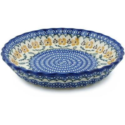 Polish Pottery 10-inch Fluted Pie Dish | Boleslawiec Stoneware | Polmedia H9755H