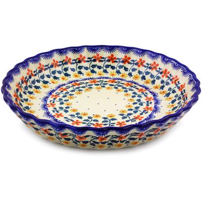 Polish Pottery 10-inch Fluted Pie Dish | Boleslawiec Stoneware | Polmedia H9014I