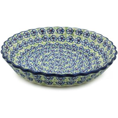 Polish Pottery 10-inch Fluted Pie Dish | Boleslawiec Stoneware | Polmedia H3799I