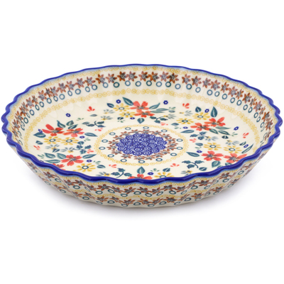 Polish Pottery 10-inch Fluted Pie Dish | Boleslawiec Stoneware | Polmedia H2269J