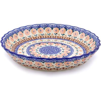 Polish Pottery 10-inch Fluted Pie Dish | Boleslawiec Stoneware | Polmedia H3503E