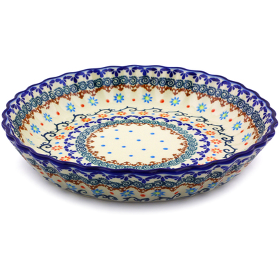 Polish Pottery 10-inch Fluted Pie Dish | Boleslawiec Stoneware | Polmedia H0157J