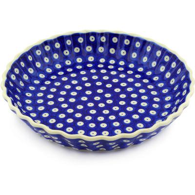 Polish Pottery 10-inch Fluted Pie Dish | Boleslawiec Stoneware | Polmedia H7178E