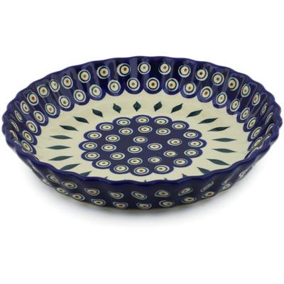 Polish Pottery 10-inch Fluted Pie Dish | Boleslawiec Stoneware | Polmedia H7179E