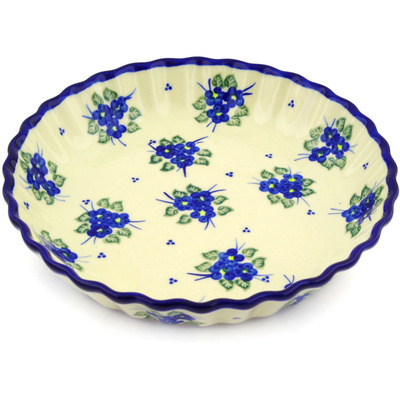 Polish Pottery 10-inch Fluted Pie Dish | Boleslawiec Stoneware | Polmedia H5379F