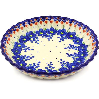 Polish Pottery 10-inch Fluted Pie Dish | Boleslawiec Stoneware | Polmedia H2093G