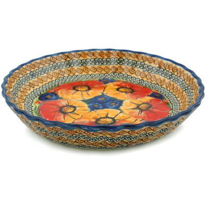 Polish Pottery 10-inch Fluted Pie Dish | Boleslawiec Stoneware | Polmedia H6113D