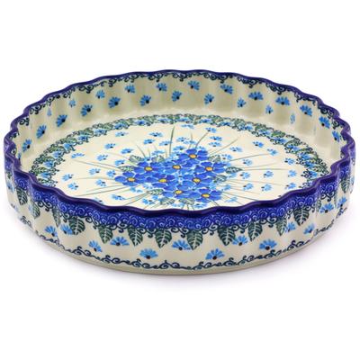 Polish Pottery 9-inch Fluted Pie Dish | Boleslawiec Stoneware | Polmedia H0811I