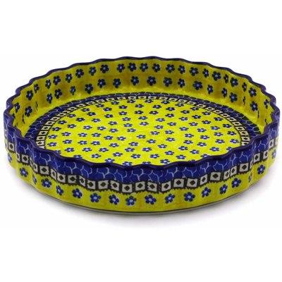 Polish Pottery 9-inch Fluted Pie Dish | Boleslawiec Stoneware | Polmedia H1853B