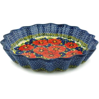 Polish Pottery 12-inch Fluted Pie Dish | Boleslawiec Stoneware | Polmedia H6200I