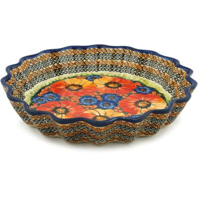 Polish Pottery 12-inch Fluted Pie Dish | Boleslawiec Stoneware | Polmedia H5493F