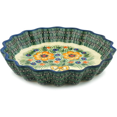 Polish Pottery 12-inch Fluted Pie Dish | Boleslawiec Stoneware | Polmedia H6091I