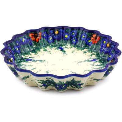 Polish Pottery 12-inch Fluted Pie Dish | Boleslawiec Stoneware | Polmedia H8200I