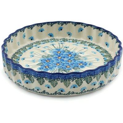 Polish Pottery 8-inch Fluted Pie Dish | Boleslawiec Stoneware | Polmedia H0863I