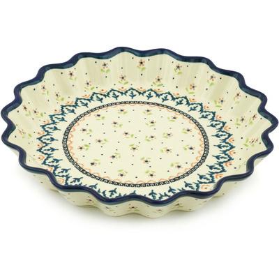 Polish Pottery 10-inch Fluted Pie Dish | Boleslawiec Stoneware | Polmedia H9797G