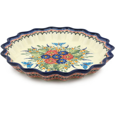 Polish Pottery 13-inch Fluted Pie Dish | Boleslawiec Stoneware | Polmedia H8947B