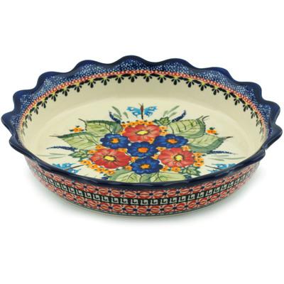 Polish Pottery 8-inch Fluted Pie Dish | Boleslawiec Stoneware | Polmedia H2810I