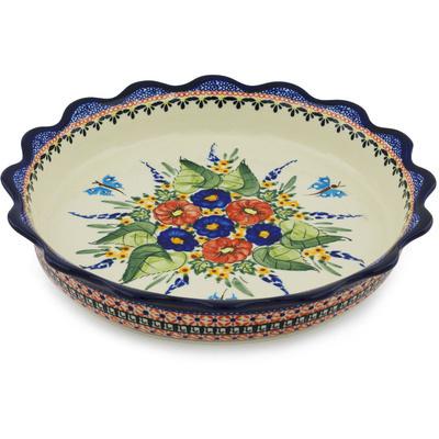 Polish Pottery 11-inch Fluted Pie Dish | Boleslawiec Stoneware | Polmedia H2932H
