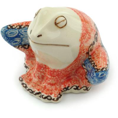 Polish Pottery 4-inch Frog Figurine | Boleslawiec Stoneware | Polmedia H2205C