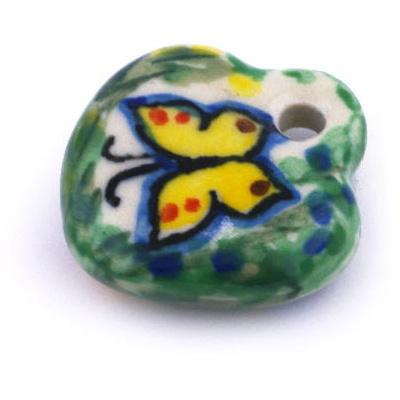 Polish Pottery 1-inch Heart Pendant | Boleslawiec Stoneware | Polmedia H6322G