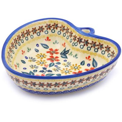 Polish Pottery 6-inch Heart Shaped Bowl | Boleslawiec Stoneware | Polmedia H2635J