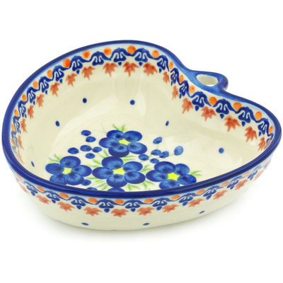 Polish Pottery 6-inch Heart Shaped Bowl | Boleslawiec Stoneware | Polmedia H4068H
