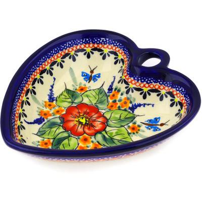 Polish Pottery 6-inch Heart Shaped Bowl | Boleslawiec Stoneware | Polmedia H1094E