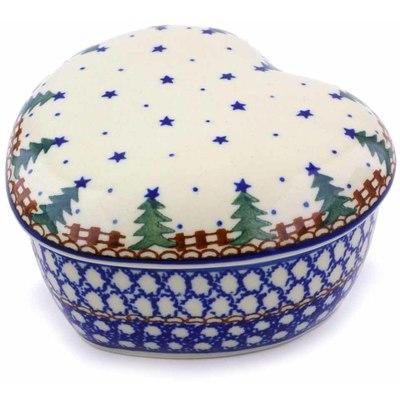 Polish Pottery 4-inch Heart Shaped Jar | Boleslawiec Stoneware | Polmedia H5312B