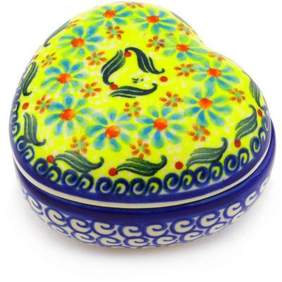 Polish Pottery 4-inch Heart Shaped Jar | Boleslawiec Stoneware | Polmedia H2156G