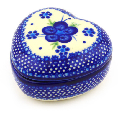 Polish Pottery 4-inch Heart Shaped Jar | Boleslawiec Stoneware | Polmedia H6337F