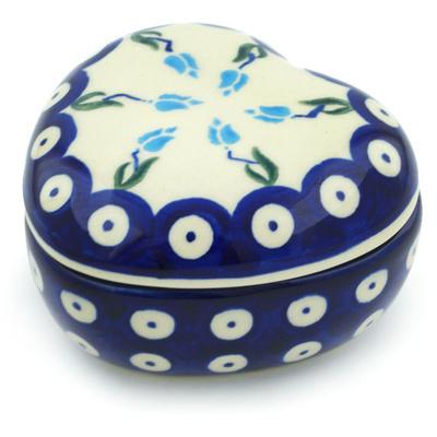 Polish Pottery 4-inch Heart Shaped Jar | Boleslawiec Stoneware | Polmedia H4066H