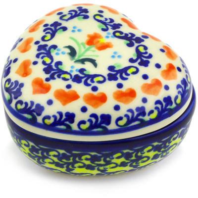 Polish Pottery 4-inch Heart Shaped Jar | Boleslawiec Stoneware | Polmedia H2916G