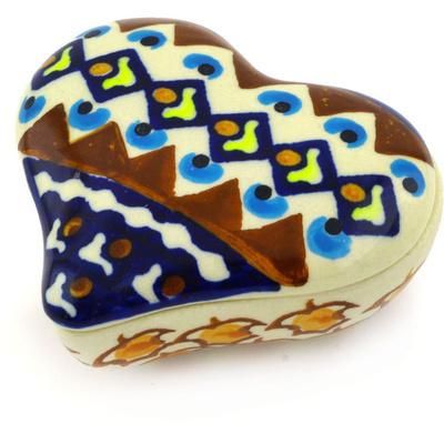 Polish Pottery 3-inch Heart Shaped Jar | Boleslawiec Stoneware | Polmedia H8339E