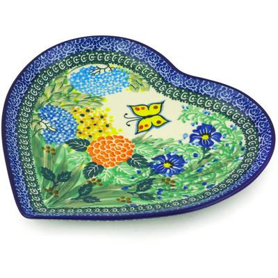 Polish Pottery 9-inch Heart Shaped Platter | Boleslawiec Stoneware | Polmedia H6938G
