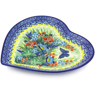 Polish Pottery 9-inch Heart Shaped Platter | Boleslawiec Stoneware | Polmedia H3573G