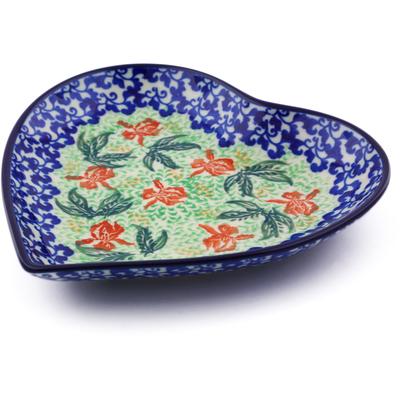 Polish Pottery 7-inch Heart Shaped Platter   Boleslawiec Stoneware   Polmedia H5009I