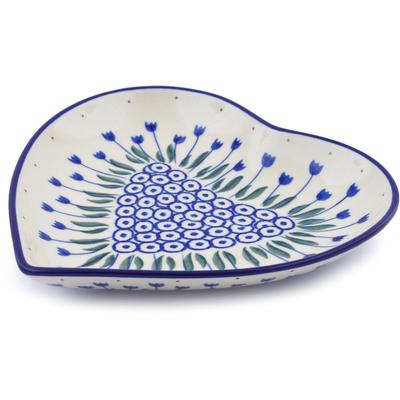 Polish Pottery 7-inch Heart Shaped Platter | Boleslawiec Stoneware | Polmedia H1102J