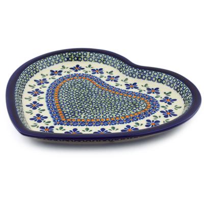 Polish Pottery 11-inch Heart Shaped Platter | Boleslawiec Stoneware | Polmedia H6289C