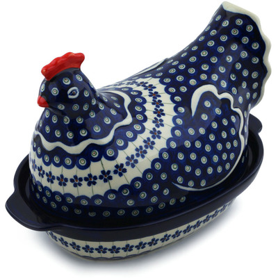 Polish Pottery 13-inch Hen Shaped Jar | Boleslawiec Stoneware | Polmedia H7306E