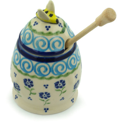 Polish Pottery 5-inch Honey Jar with Dipper | Boleslawiec Stoneware | Polmedia H2856I