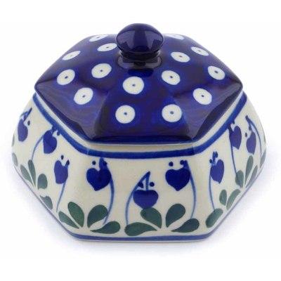Polish Pottery 4-inch Jar with Lid   Boleslawiec Stoneware   Polmedia H0540J