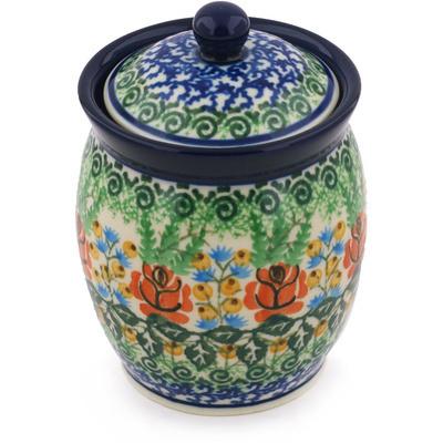 Polish Pottery 5-inch Jar with Lid | Boleslawiec Stoneware | Polmedia H8715G