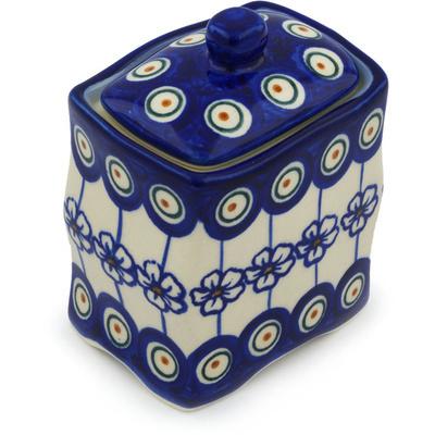 Polish Pottery 4-inch Jar with Lid   Boleslawiec Stoneware   Polmedia H0998H