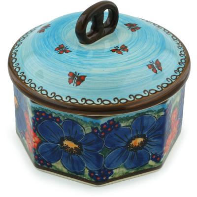 Polish Pottery 7-inch Jar with Lid   Boleslawiec Stoneware   Polmedia H0864E