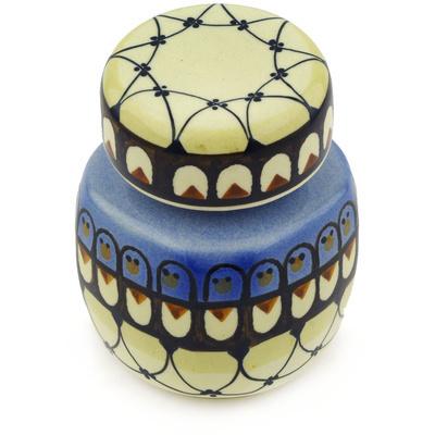 Polish Pottery 4-inch Jar with Lid | Boleslawiec Stoneware | Polmedia H9403E
