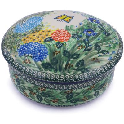 Polish Pottery 7-inch Jar with Lid | Boleslawiec Stoneware | Polmedia H9358G