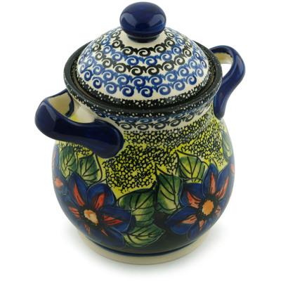 Polish Pottery 8-inch Jar with Lid and Handles | Boleslawiec Stoneware | Polmedia H6185I
