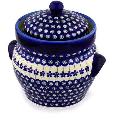 Polish Pottery 10-inch Jar with Lid and Handles | Boleslawiec Stoneware | Polmedia H9371C